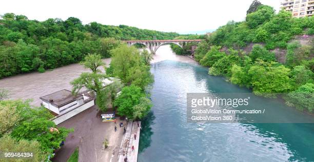 breathtaking image of river junction in geneva, switzerland - rhone stock pictures, royalty-free photos & images