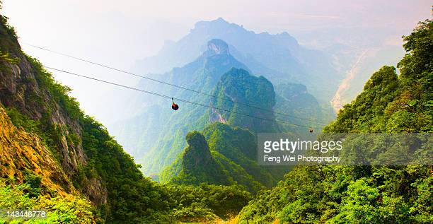 breathtaking landscape in mount tianmen - tianmen stock pictures, royalty-free photos & images