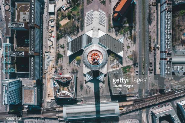 breathtaking overhead aerial view of berlin alexanderplatz tv tower in beautiful daylight - german culture stock pictures, royalty-free photos & images
