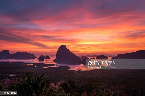 breathtaking sunrise scenery view of samet nang she coastline at krabi province, southern of thailand - impossiable stock pictures, royalty-free photos & images