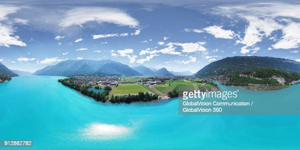 breathtaking view above emerald-colored waters of lake brienz in switzerland - 全天周パノラマ ストックフォトと画像