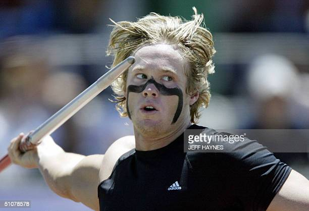 Breaux Greer at the US throws the Javelin during the US Olympic Track and Field Team Trials 17 July 2004 at the Alex G Spanos Athletic Complex in...