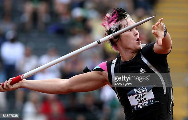 Breaux Greer competes in the men's javelin preliminary round during day six of the US Track and Field Olympic Trials at Hayward Field on July 4 2008...