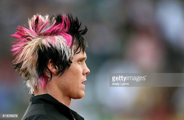 Breaux Greer is pictured before competing in the men's javelin preliminary round during day six of the US Track and Field Olympic Trials at Hayward...