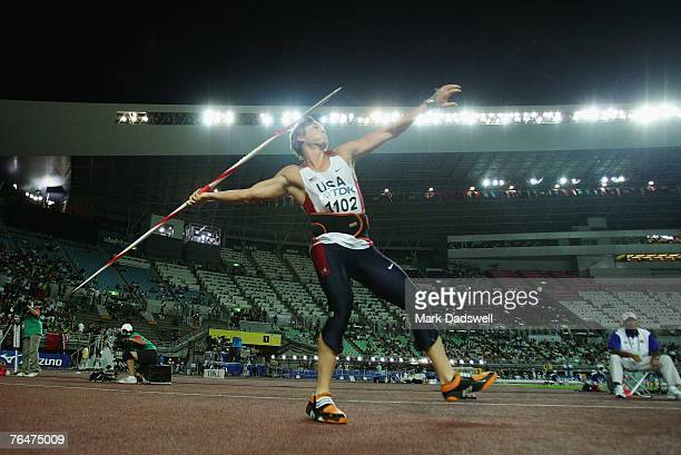 Breaux Greer of the United States of America competes in the Men's Javelin Final on day nine of the 11th IAAF World Athletics Championships on...