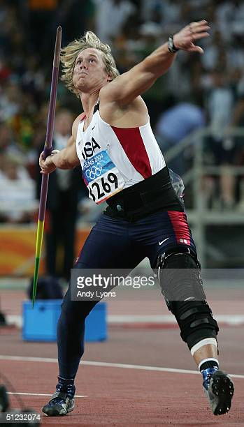 Breaux Greer of USA competes in the men's javelin final on August 28 2004 during the Athens 2004 Summer Olympic Games at the Olympic Stadium in the...