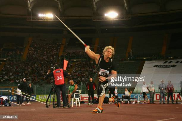 Breaux Greer of USA in the men's javelin during the IAAF Golden Gala meeting at the Olympic Stadium on July 13 2007 in Rome Italy