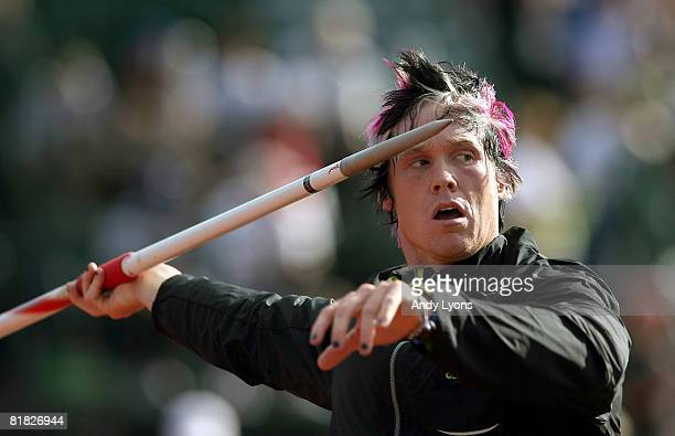 Breaux Greer warms up before competing in the men's javelin preliminary round during day six of the US Track and Field Olympic Trials at Hayward...