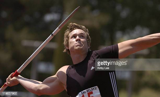 Breaux Greer won the men's javelin in a meet record 2877 in the 47th Mt San Antonio College Relays at Hilmer Lodge Stadium in Walnut Calif on Sunday...