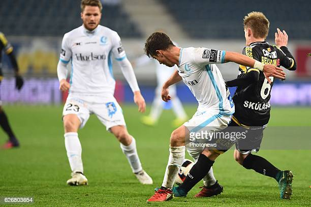 Brecht Dejaegere midfielder of KAA Gent and Ari Freyr Skulason of sporting lokeren during the Croky Cup match between KAA Gent and KSC LOKEREN in the...