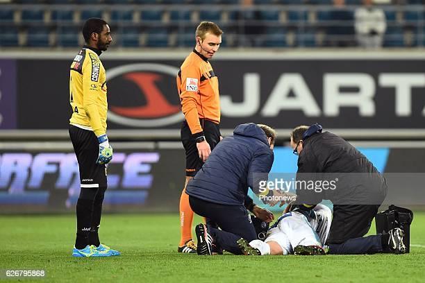 Brecht Dejaegere midfielder of KAA Gent is injured during the Croky Cup match between KAA Gent and KSC LOKEREN in the Ghelamco Arena stadium on...