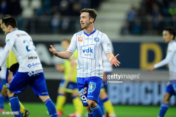 Brecht Dejaegere midfielder of KAA Gent looks dejected after missing an opportunity during the Jupiler Pro League match between KAA Gent and Sint...