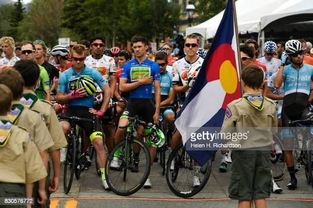 Breckenridge boy scout troop 187 holds the colors during the singing of the national anthem before the start of stage 2 of the Men's Colorado Classic...