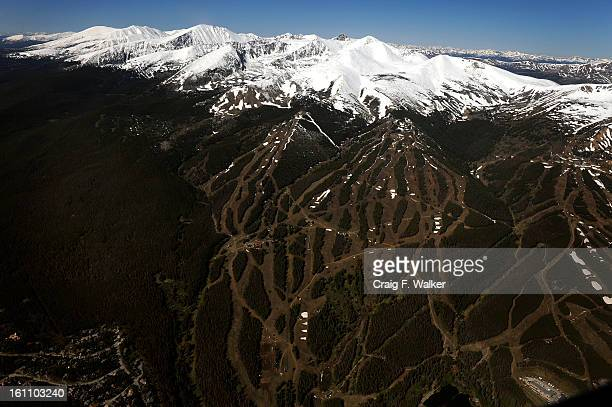 Breckenridge Ski Area and the Tenmile Range viewed during a flyover of the proposed Hidden Gems Wilderness Areas in Eagle and Summit County CO A...