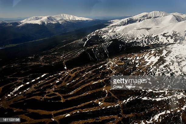 Breckenridge Ski Area and the Tenmile Range with Hoosier Ridge on the left viewed during a flyover of the Hidden Gems Wilderness Areas in Eagle and...