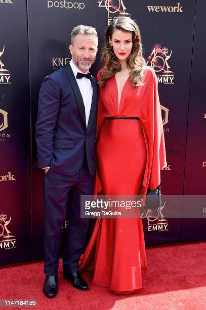 Breckin Meyer and Linsey Godfrey attend the 46th annual Daytime Emmy Awards at Pasadena Civic Center on May 05 2019 in Pasadena California
