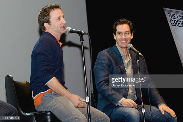 Breckin Meyer and MarkPaul Gosselaar attend a QA session during the 'Franklin Bash' season 2 screening at The Vic Theater on May 17 2012 in Chicago...
