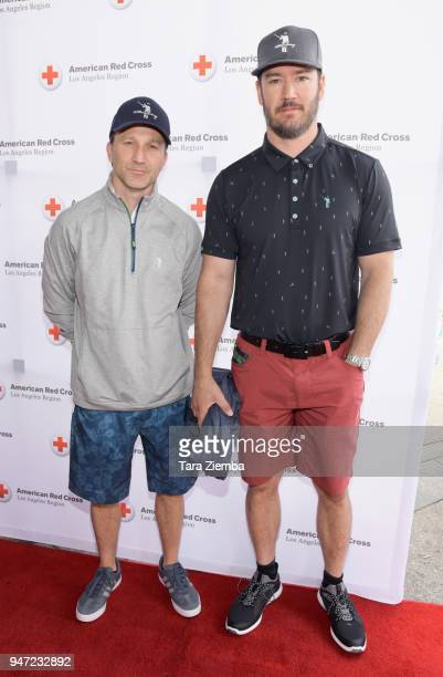 Breckin Meyer and Mark-Paul Gosselaar attend the Red Cross' 5th Annual Celebrity Golf Tournament at Lakeside Golf Club on April 16, 2018 in Burbank,...