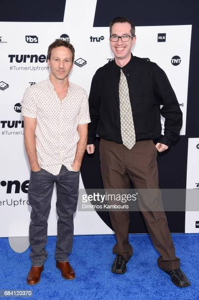 Breckin Meyer and Matthew Senreich attend the Turner Upfront 2017 arrivals on the red carpet at The Theater at Madison Square Garden on May 17 2017...