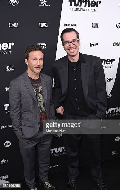 Breckin Meyer and screenwriter Matthew Senreich attend Turner Upfront 2016 arrivals at The Theater at Madison Square Garden on May 18 2016 in New...