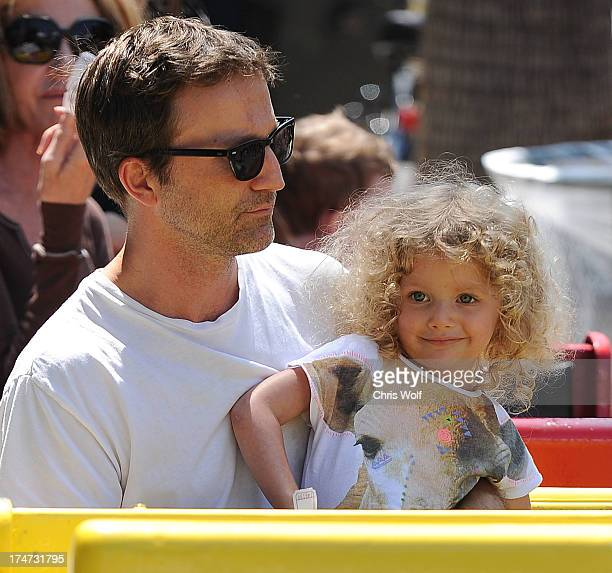 Breckin Meyer is seen with daughter Clover Meyer on July 28 2013 in Los Angeles California