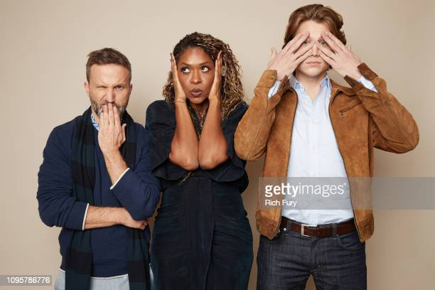 Breckin Meyer Merrin Dungey and Alex Saxon of ABC's 'The Fix' pose for a portrait during the 2019 Winter TCA Getty Images Portrait Studio at The...