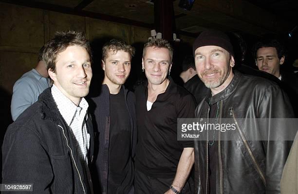 Breckin Meyer Ryan Phillippe Larry Mullen Jr of U2 and The Edge of U2