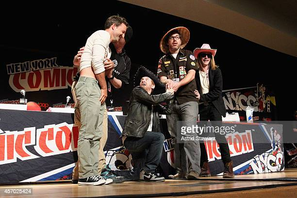 Breckin Meyer Seth Green John Harvatine IV Macaulay Culkin speak at The Adult Swim Robot Chicken Panel At New York Comic Con 2014 at Jacob Javitz...