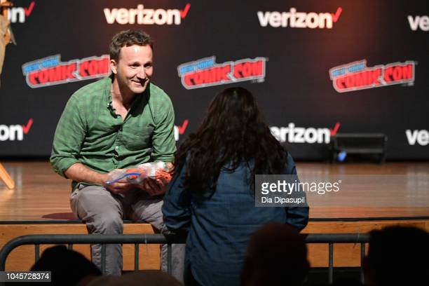 Breckin Meyer speaks onstage at the Sony Crackle Presents SuperMansion panel during New York Comic Con 2018 at Jacob K Javits Convention Center on...