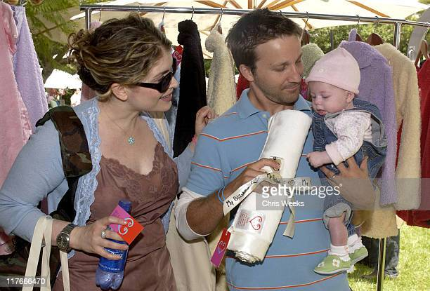 Breckin Meyer wife Deborah Kaplan and child at My Blankee Photo by Chris Weeks/WireImage for Silver Spoon