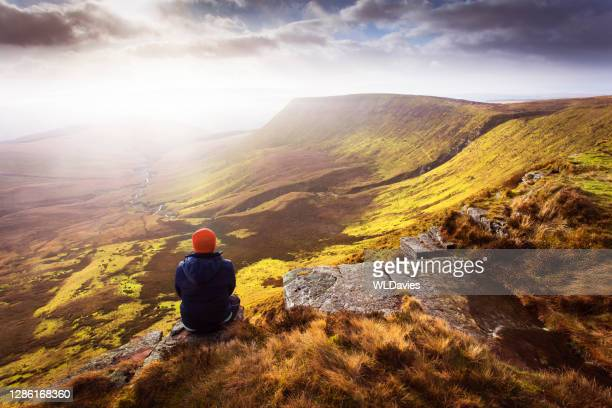 brecon beacons landscape - one person stock pictures, royalty-free photos & images