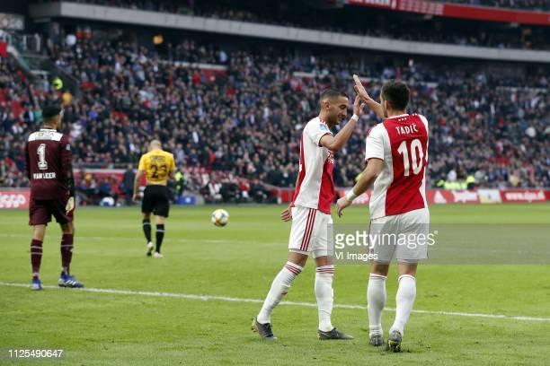 NAC Breda goalkeeper Benjamin van Leer Alex Gersbach of NAC Breda Hakim Ziyech of Ajax Dusan Tadic of Ajax during the Dutch Eredivisie match between...