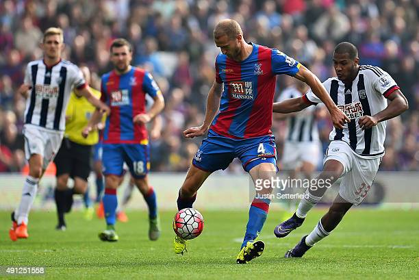 Brede Hangeland of Crystal Palace and Jose Salomon Rondon of West Bromwich Albion during the Barclays Premier League match between Crystal Palace and...