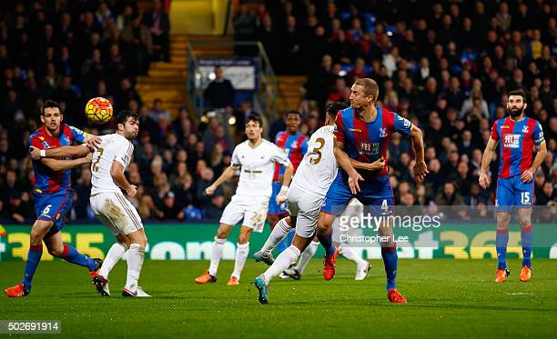 Brede Hangeland of Crystal Palace shoots at goal during the Barclays Premier League match between Crystal Palace and Swansea City at Selhurst Park on...