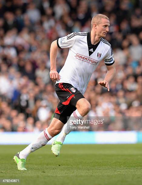 Brede Hangeland of Fulham during the Barclays Premier League match between Fulham and Newcastle United at Craven Cottage on March 15 2014 in London...