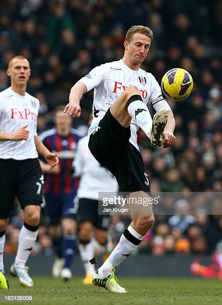 Brede Hangeland of Fulham in action during the Barclays Premier League match between Fulham and Stoke City at Craven Cottage on February 23 2013 in...