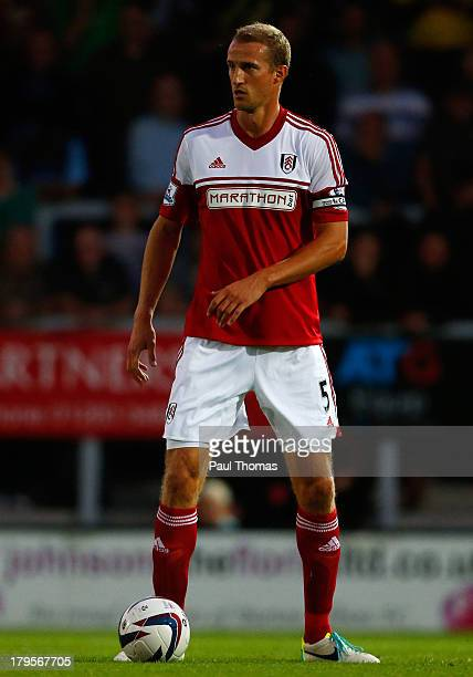 Brede Hangeland of Fulham in action during the Capital One Cup Second Round match between Burton Albion and Fulham at the Pirelli Stadium on August...
