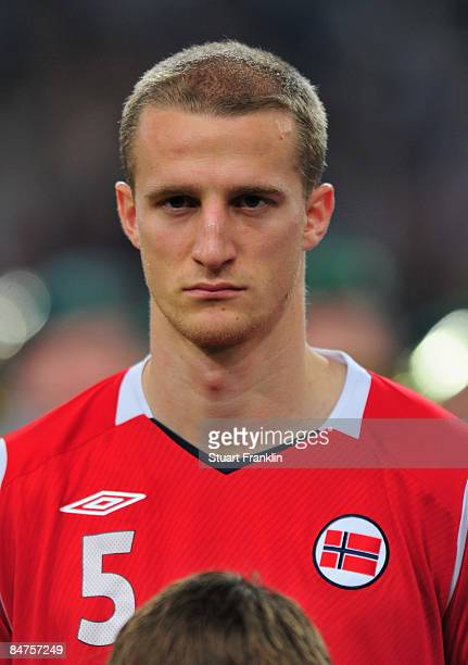 Brede Hangeland of Norway during the International Friendly match between Germany and Norway at the LTU Arena Duesseldorf on February 11 2009 in...