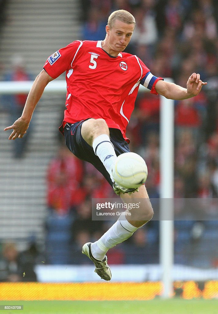Brede Hangeland of Norway in action during the FIFA 2010 World Cup Qualifying Match between Scotland and Norway at Hampden Park on October 11, 2008 in Glasgow, Scotland.