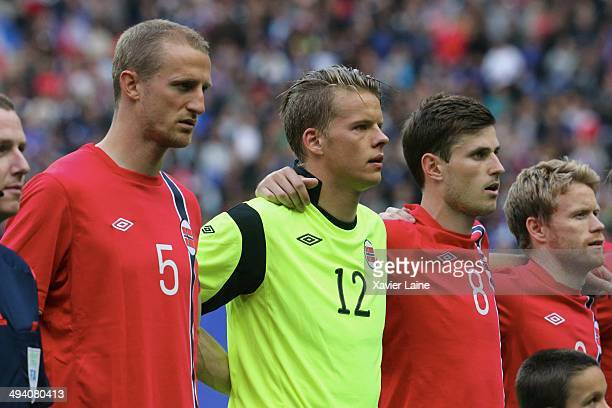 Brede Hangeland Orjan Haskjold Nyland and Havard Nordtveit of Norway during the International Friendly games between France and Norway at Stade de...