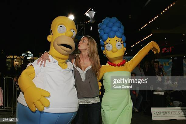 Bree Amer TV Host of Big Brother arrives on the yellow carpet at The Simpsons Movie Australian premiere at Hoyts Entertainment Quarter Moore Park on...