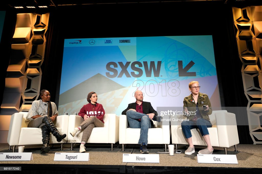 Bree Newsome, Noor Tagouri, Ben Howe, and Ana Marie Cox speak onstage at The Gifts of Faith: Cultivating Resilience during SXSW at Austin Convention Center on March 13, 2018 in Austin, Texas.