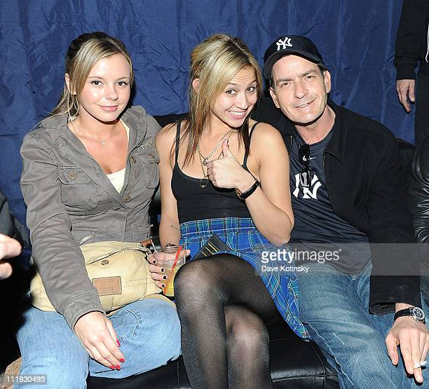 Bree Olson Natalie Kenly and Charlie Sheen attend the kick off party for Fridays at Dragonfly hosted by Juice Entertainment's Tommy D on April 8 2011...