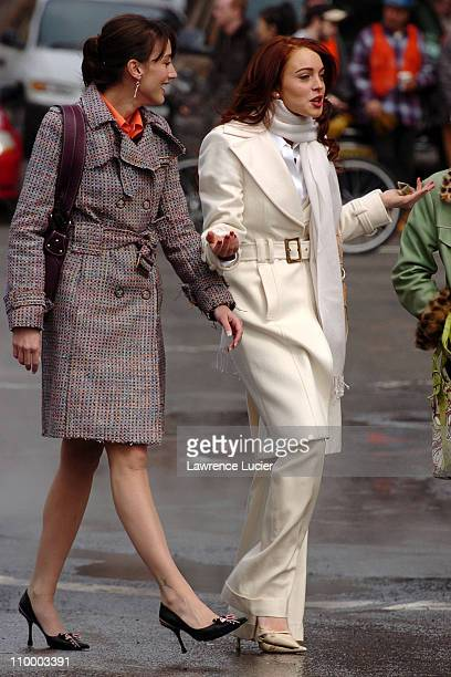 Bree Turner and Lindsay Lohan during Lindsay Lohan on the Set of Just My Luck March 31 2005 at Greenwich Village in New York City New York United...