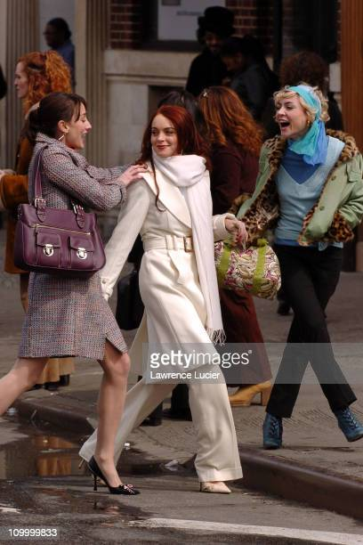 Bree Turner Lindsay Lohan and Samaire Armstrong during Lindsay Lohan on the Set of Just My Luck March 31 2005 at Greenwich Village in New York City...