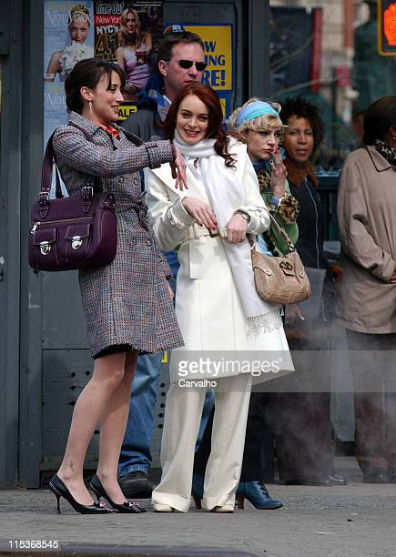 Bree Turner Lindsay Lohan and Samaire Armstrong during Lindsay Lohan on the Set of 'Just My Luck' March 31 2005 at Greenwich Village in New York City...