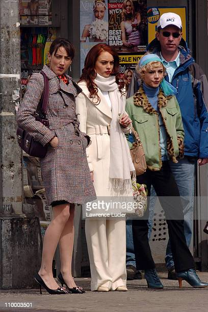 Bree Turner Lindsay Lohan Samaire Armstrong during Lindsay Lohan on the Set of Just My Luck March 31 2005 at Greenwich Village in New York City New...
