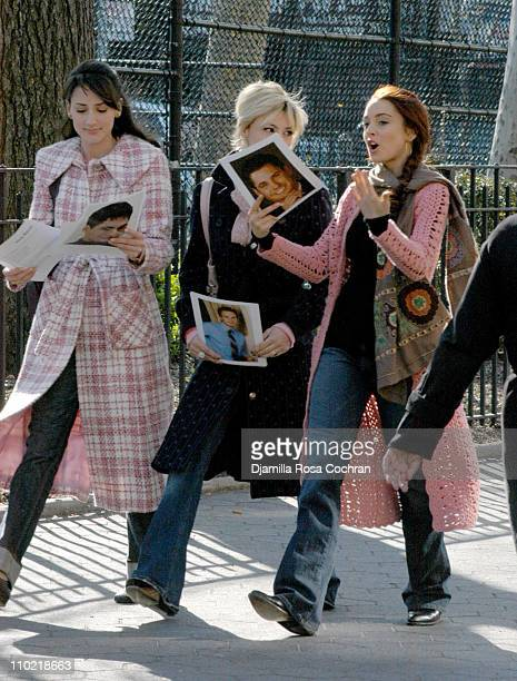 Bree Turner Samaire Armstrong and Lindsay Lohan during Lindsay Lohan on the Set of Just My Luck April 11 2005 at East Village in New York City New...