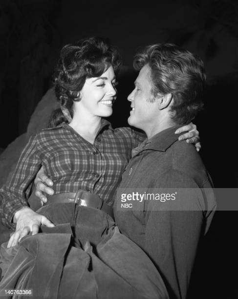BONANZA Breed of Violence Episode 9 Pictured Myrna Fahey as Dolly Kincaid John Ericson as Vince Dagen Photo by NBC/NBCU Photo Bank