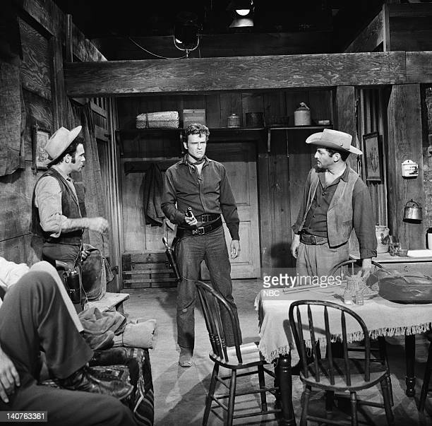 BONANZA Breed of Violence Episode 9 Pictured Paul Lukather as Robie John Ericson as Vince Dagen Norman Alden as Poke Photo by NBC/NBCU Photo Bank